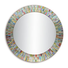 Bohemian Rainbow Rhapsody Glass Mosaic Wall Mirror
