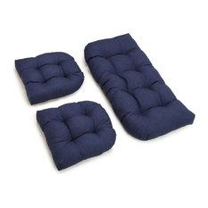 U-Shaped Spun Polyester Tufted Settee Cushion Set, Set of 3, Spruce