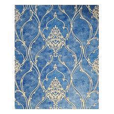 M5123 Royal blue beige gold Victorian damask Wallpaper , 42 Inc X 33 Ft Roll