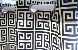 Shower Curtain Towers Navy Blue and Ivory Greek Key By Elisabeth Michael