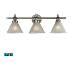 3-Lgt Vanity Lamp In Brushed Nickel W/ White Marbleized Glasss (11402/3-LED)