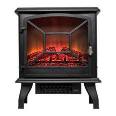 "AKDY Home Improvement - AKDY 20"" Freestanding Portable Electric Fireplace 3D Flames Firebox, Black - Freestanding Stoves"