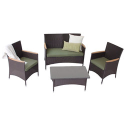 Ideal Tropical Outdoor Lounge Sets Pc All Weather Wicker Modern Outdoor Conversation Set Espresso