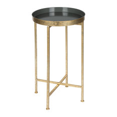 Kate and Laurel Celia Round Metal Foldable Tray Accent Table, Gold and Gray