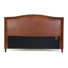 King Size Leather Headboard With Brass Nail Head Tobacco