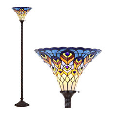 """Peacock Tiffany-Style 70"""" Torchiere Floor Lamp, Bronze"""