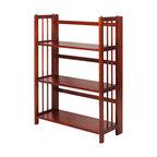 3 Shelf Folding Bookcase, Mahogany, 27.5, 3 Shelf