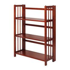 3 Shelf Folding Bookcase, Mahogany, Large, 3 Shelf