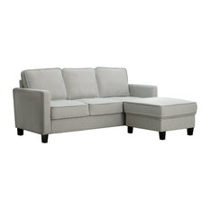 Scarlett Fabric Sofa and Ottoman Set, Gray