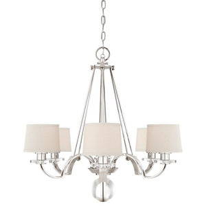 Silver 6-Light Chandelier With Milano Fabric Shades