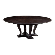 54-inch-70-inch W Pancrazio Extendable Dining Table Curved Carved Legs Radial Top Oak