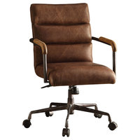 Harith Top-Grain Leather Office Chair, Retro Brown