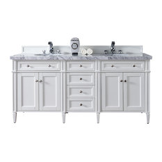 "Brittany 72"" Cottage White Double Vanity, Carrara White Top"