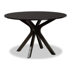 Kenji And Contemporary Dark Brown Finished 48-Inch-Wide Round Wood Dining Table