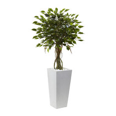 Ficus Tree With White Planter UV Resistant, Indoor/Outdoor
