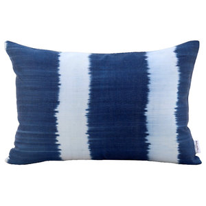 Breeze Silk and Cotton Striped Cushion Cover, Blue, 35x60 cm