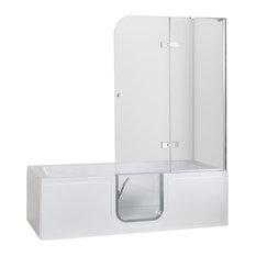 Ella 32x72 Laydown Inward Swing Door Walk-In Bathtub, Air Massage W/Glass Shower