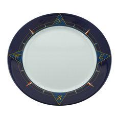 Galleyware Blue Compass Melamine Non-Skid Dinner Plates, Set of 4