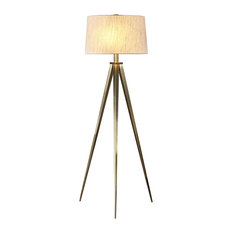"""Artiva USA Hollywood 63"""" LED Tripod Floor Lamp With Dimmer, Antique Satin Brass"""