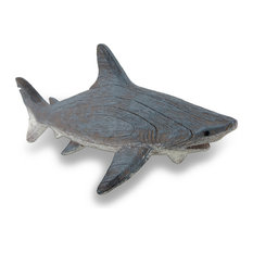 Gray Weathered Finish Wood Look Shark Statue