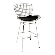 Wire Counter Stool Chrome Black Seat Pad