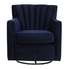 Zerk Swivel Arm Chair, Navy Blue Velvet