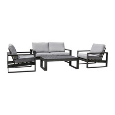 Amalfi Outdoor Lounge Set With 2-Seater Sofa, Black