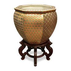 14 Inch Gilded Porcelain Yosegi Japanese Fishbowl Planter, With Stand