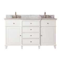 "Avanity Windsor 61"" Double Vanity, White Finish, Carrera White Marble Top"