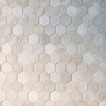 "GL Stone Tile - Wood Grey Multi Surface Hexagon Mosaic - This Wood Grey Marble Hexagon Mosaic features a perfect mix of Honed,Bush Hammered And Linear Textures, creating an array of patterns all from the same stone type and shape. Each chip is approximately 2"" in size and the overall tile is 12"" x 12"". Sold in boxes of 5 tiles, approx 5 sq. ft. per box."