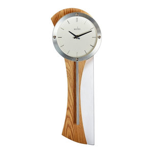 ACCTIM Bromsgrove Oak Effect and Chrome Pendulum Wall Clock