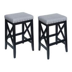 Nancy Farmhouse Upholstered Fabric Barstools Set Of 2 Light Gray Black