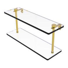 """16"""" Two Tiered Glass Shelf, Polished Brass"""