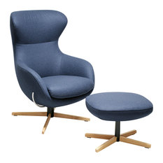 Jester Blue and Oak Armchair With Footstool