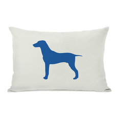 """""""Large Mix Silhouette"""" Indoor Throw Pillow by OneBellaCasa, Blue, 14""""x20"""""""