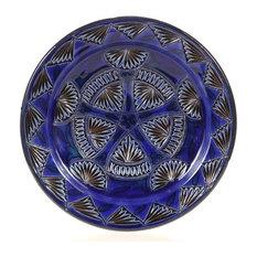 "Cobalt Carved Decorative Plate, 11"""