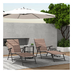 Adjustable Chaise Lounge Chair Recliner Outdoor Folding Lounge Chair, 2 Packs