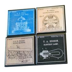 4-Piece Great Inventors Wood Coaster Set