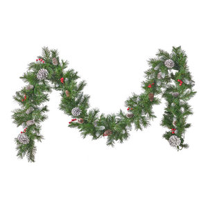 9' Mixed Spruce LED Artificial Christmas Garland, Green