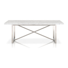 Chasm Dining Table, Brushed Stainless Steel