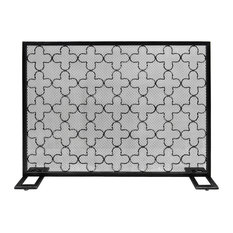 Uriah Modern Single PanelIron Fire Screen, Black Brushed Silver Finish