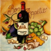 En Vogue B, 321 Bon Appetit, Wine and Cheese Tasting, Decorative Ceramic Art