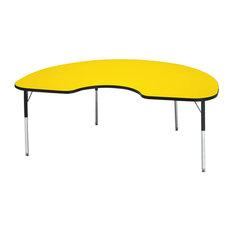 "Ridgeline Kydz Activity Table, Kidney, 48""x72"", 24"", 31"", Yellow"