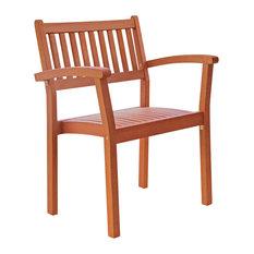 Vifah Set of 4 Malibu Outdoor Wood Garden Stacking Armchairs