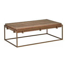 Industrial Coffee Table, Reclaimed Wood Top and Metal Frame With Bronze Finish