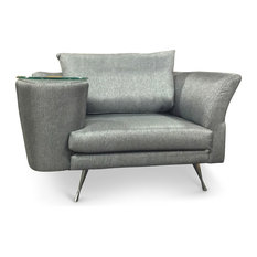 Zuri Furniture   Cafe Unique Chair With Side Table, Gray, Left   Armchairs  And