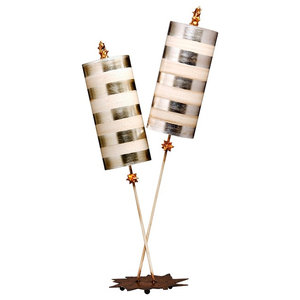 Luxe Table Lamp, Silver Leaf and Cream