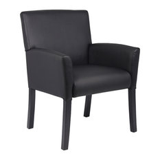 Boss Office Products Executive Box Arm Chair With Mahogany Base