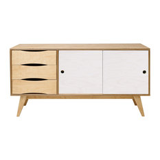 SoSixties Sideboard, Oak and White, Large
