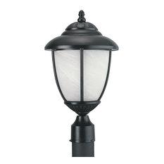 Yorktown 1-Light Outdoor Post Lantern, Black